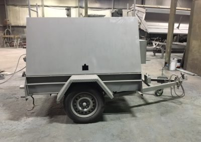 Trailer after sandblasting and undercoated